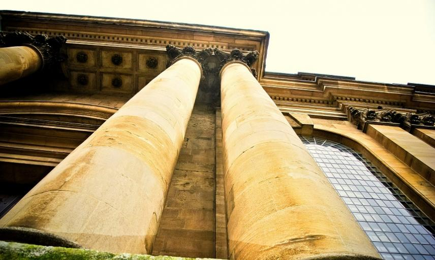 Looking up at the columns of Lincoln College's library
